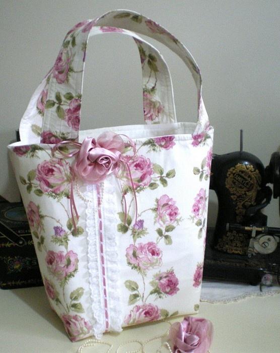 +++ SHABBY ROSES  - TOTE BAG 7 +++ HandMade  So pretty!