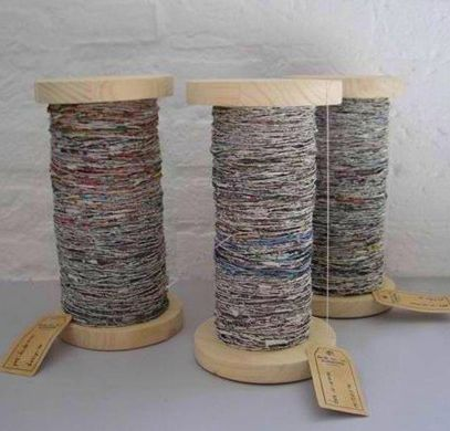 Handspun newspaper yarn - I've already tried this!  http://www.greatgreengoods.com/page/8/