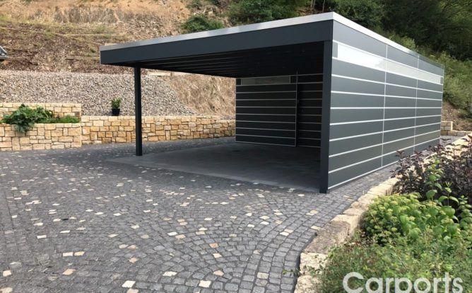 Carport Hpl Mit Abstellraum Und Seitenwand Mit Trespa Verkleidet Carport Bauhaus Carports