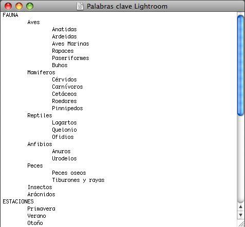 Lista de palabras clave anidadas con tabulación