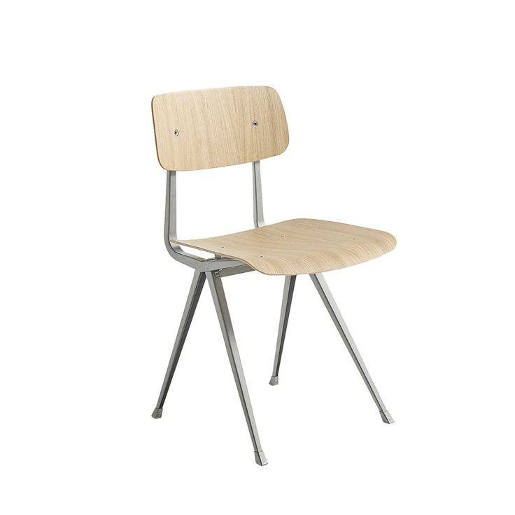 The Result Chair features a thin steel-sheet base with an oak seat and backrest, retaining maximum flexibility, lightness and strength, yet keeping the design m