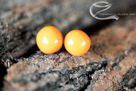 Orange studs, Tiny stud earrings, Orange Fused Glass Stud Earrings, small stud earrings