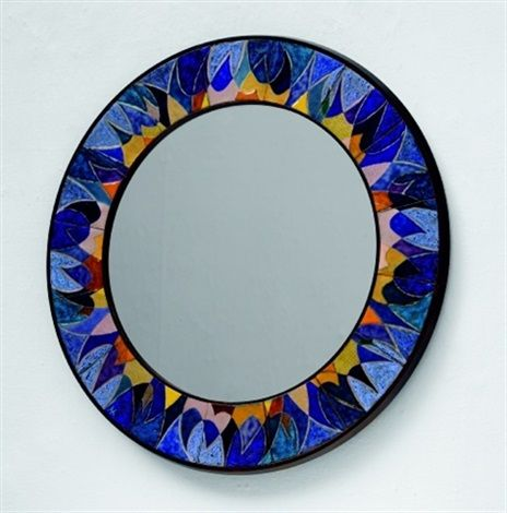 Alfred Klitgaard and Maria Viktor; Rosewood, Copper and Polychrome Enamel Wall Mirror, 1960s.