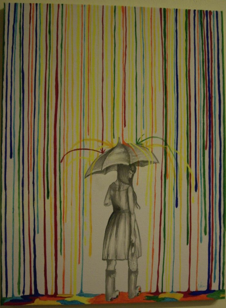 A Can of Crafty Curiosities: Grey Girl Under a Umbrella: Inspiration for a multimedia painting using melted crayons and pencil.