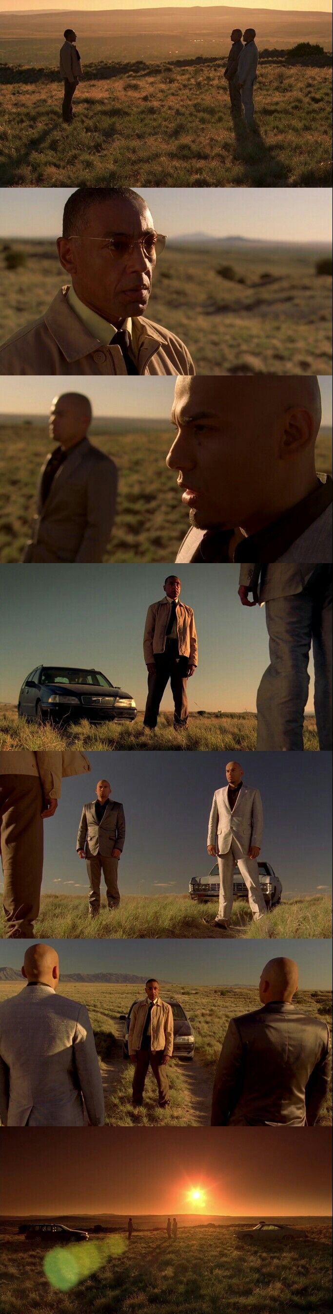Breaking Bad Season 3 Episode 6 final scene: Gus talks Tuco's brothers to kill the real one who pull the trigger.