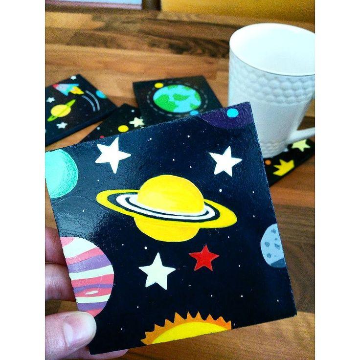 Galaxy 🌟 ahşap bardak altlıkları 🖌️
