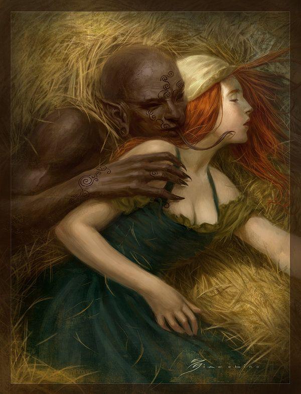 Girl having sex with demon art