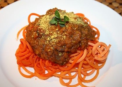 If you think bolognese sauce is only for meat lovers, think again! This hearty, healthy sauce is made with lentils over sweet potato noodles. It tastes as good as it sounds.