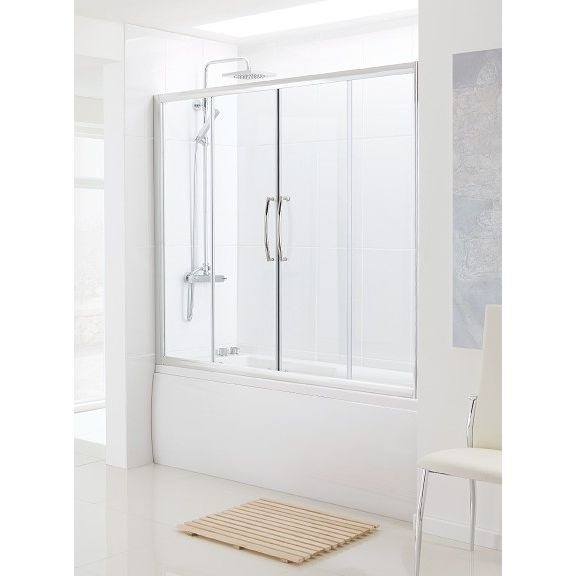Over Bath Semi-Frameless Double Slider Door 1500mm    An elegant solution where space is at a premium but you still want to be able to choose between the pleasures of bathing or a real showering experience. This is the best solution of maximum leak and splash-proof qualities.     Over Bath Double Slider Door is made purely of 6 mm thick safety glass which has a special AllClear coating, this exciting new technology helps keep your Bath Screen looking newer for longer.  Was £546.00  Now…