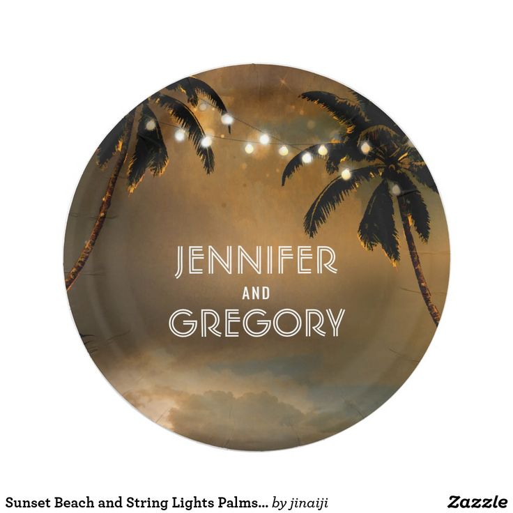 Sunset Beach and String Lights Palms Wedding Paper Plate Romantic seaside sunset and string lights palms wedding paper plates