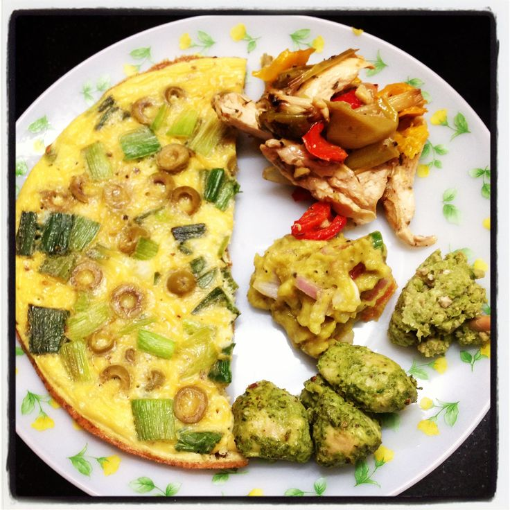 #Leek and #Green #Olive #Omelette with #Guacamole #Salad and  #Green #Chilli techa
