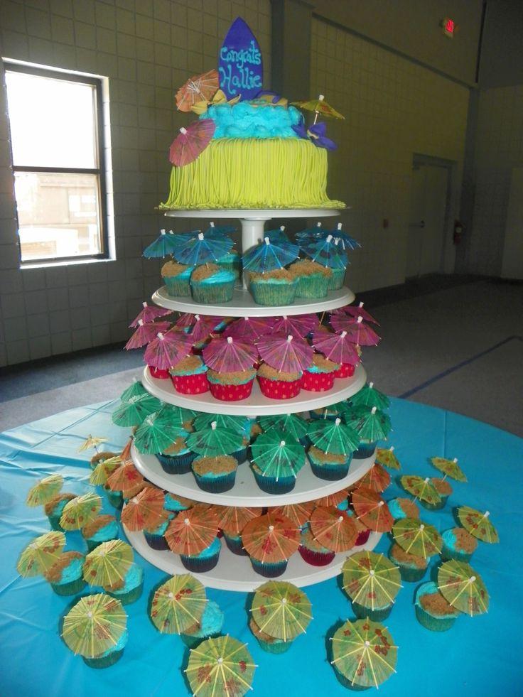 Luau Cake cup cakes, blue frosting, brown sugar sand, umbrella