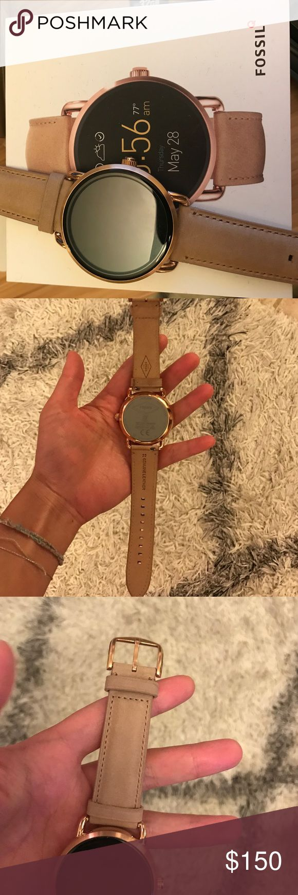 Fossil fossilQ q wander watch in tan FossilQ wander watch from Fossil in tan- worn once. Almost new comes original box, USB charger - everything that came w it. Battery lasts long good for everyday Fossil Accessories Watches