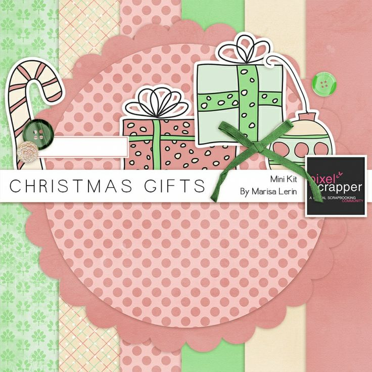 {FREE Digital Kit) Christmas Gifts Mini Kit pink green cream presents---Free download until next Wednesday, Feb 19.  There is a countdown timer that tells the time left until another kit is available.
