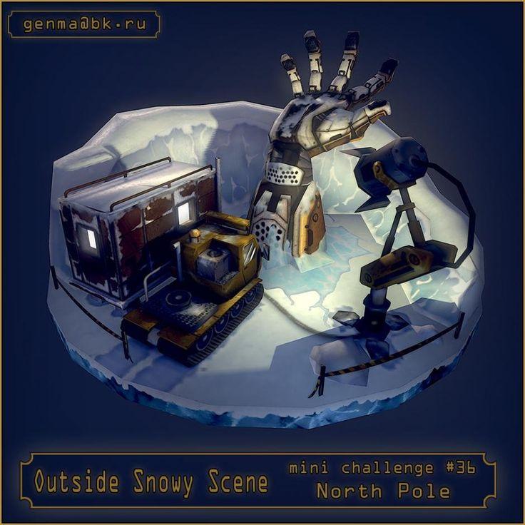Ouside snowy scene, Anton Skachkov on ArtStation at https://www.artstation.com/artwork/ouside-snowy-scene
