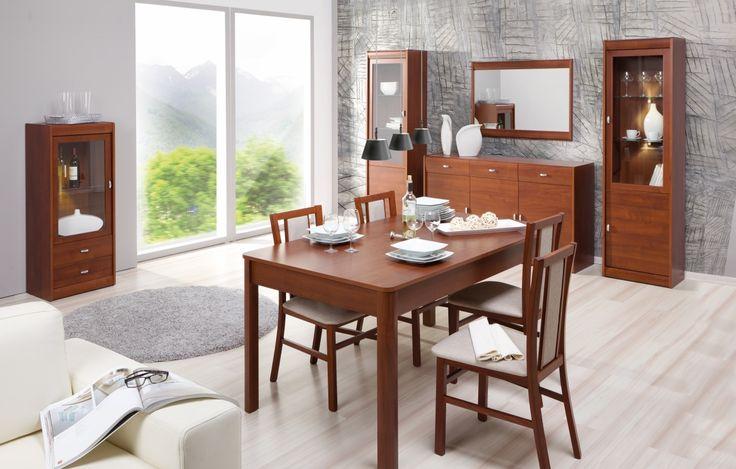 Dover to kolekcja stworzona z pasją, wysokim poczuciem estetyki i ergonomii. Wielość brył oraz ujmujący, ponadczasowy kolor wiśni primavera pozwala na komfort i luksus aranżowania wnętrza.#meble #szynakameble #furniture #wood #drewno #inspiracja #zainspirujsie #inspiration #jadalnia #diningroom