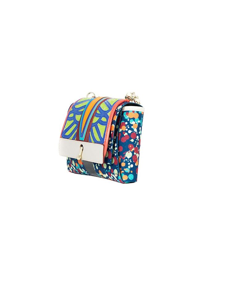 """OHMAI """"Spritz"""" multicolor mini clutch bag reversible A side: printed faux suede B side: printed faux leather removable embroidered panel removable gold chain strap lever closure reversible in two easy steps Size: 23x14x6 cm"""