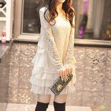 Ženy podzimní módní Sexy Vestidos Femininos s dlouhým rukávem krajka Loose Neformální Oblečení Dvoudílná sada spodnička Sexy krajkové šaty (Čína (pevninská část))