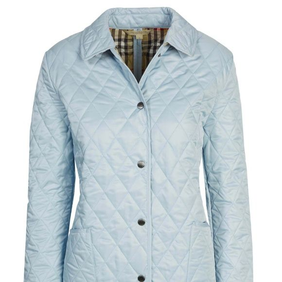 Burberry Brit Quilted Jacket Light Blue 60910 In 2020 Quilted Jacket Clothes Design Burberry Jacket