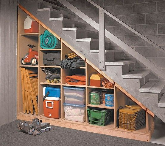 Shelves under steps - chairs, coolers, stuff that should be somewhat accessible year-round vs seasonal. Move winter coat bins to back shelves.