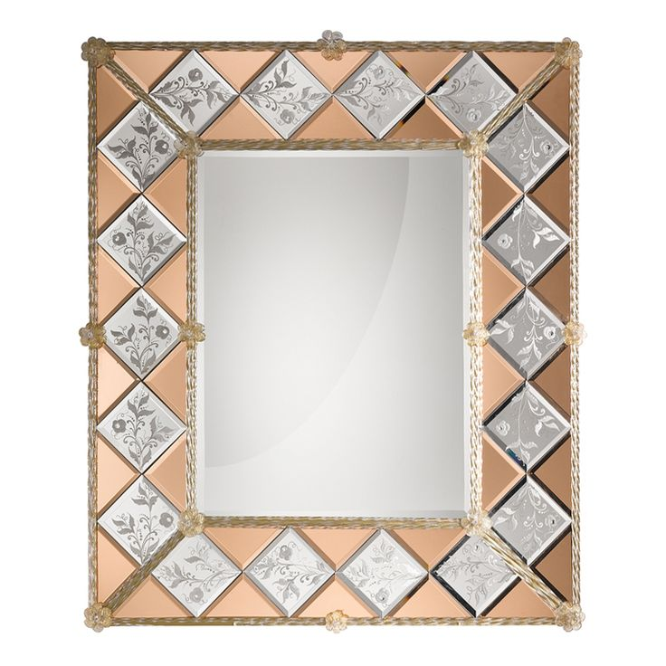 0208 Hand engraved Venetian style mirror with details in pink mirror and #Murano glass in crystal gold colour. Structure in natural wood.