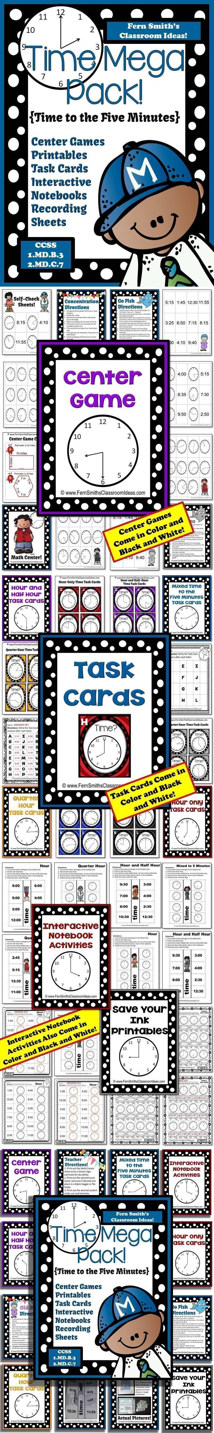 Time Mega Pack - Printables, Center Games, Task Cards, Recording Sheets