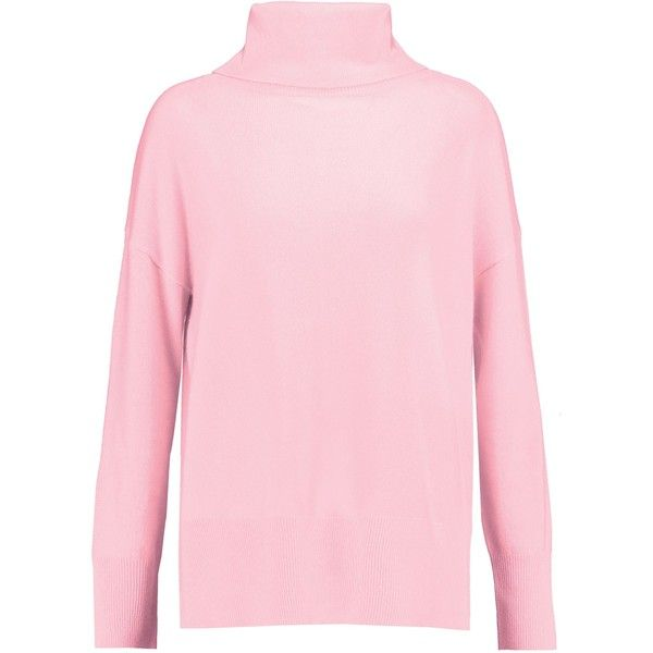 IRIS AND INK   Grace cashmere turtleneck sweater (3.834.030 VND) ❤ liked on Polyvore featuring tops, sweaters, pink cashmere sweater, pink top, pink turtleneck sweaters, slit sweater and polo neck sweater