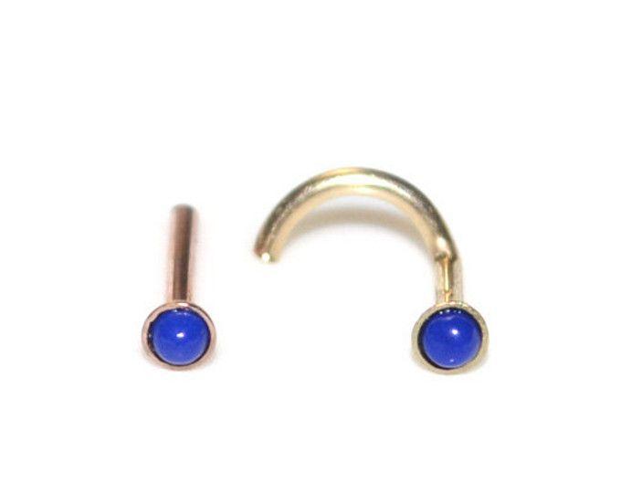 STUD de trago de oro sólido 18g / nariz stud, piercing helix, tragus pendiente lapislázuli de 2mm, anillo de la nariz, montante pendiente de cartílago, pendiente de la hélice