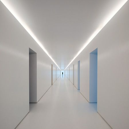 All-white corridor, School in Beja, Portugal _ by Portuguese architects Nuno Montenegro _