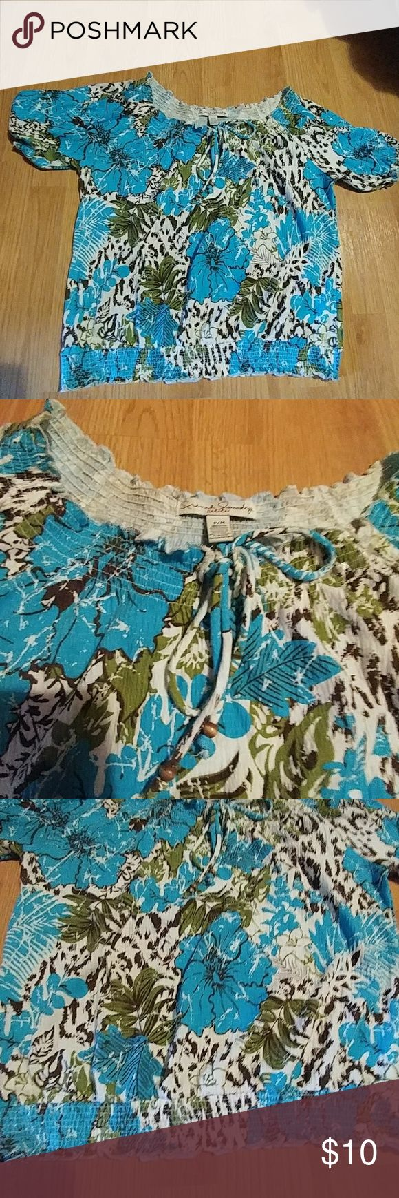 French Laundry Stretch boho look blouse Very good condition. Gathered hem, tie at neck with beads on strings. Light blue, cream, brown and green in color. French Laundry Tops Blouses