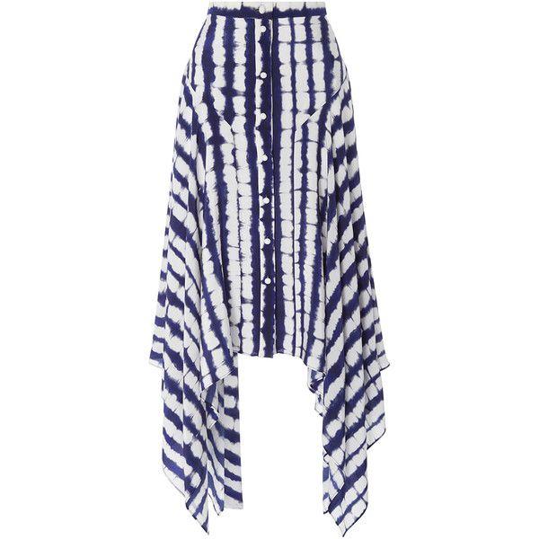 Prabal Gurung Handkerchief Hem Skirt (4.320 RON) ❤ liked on Polyvore featuring skirts, tie-dye skirt, high waisted knee length skirt, high-waist skirt, handkerchief hem skirt and white high waisted skirt