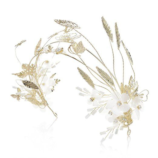 SWEETV Light Gold Crown Wedding Hair Band Leaf Flower Headband Bridal Hair Ornaments