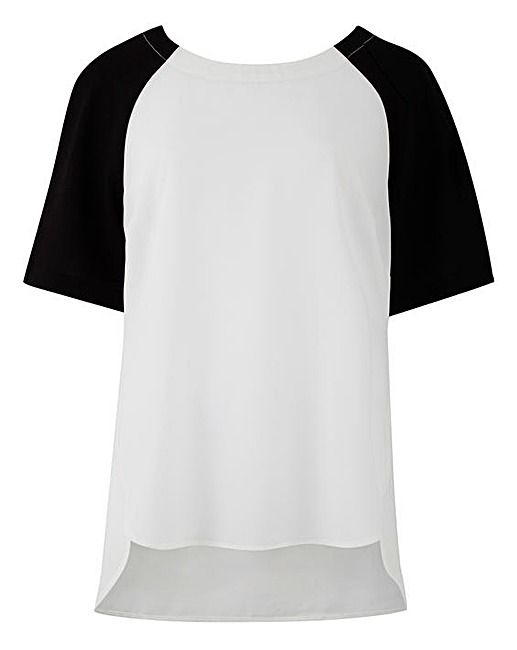 Ivory/Black Raglan Sleeve Shell Top | J D Williams