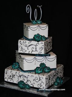 Turquoise Black and White Wedding Cakes
