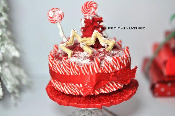 Magnifica Torta natale con canne da zucchero-Casa delle bambole miniatura torta 1:12 albero di natale e lecca lecca ,panna montata