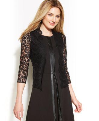 Calvin Klein Three-Quarter-Sleeve Sheer Lace Shrug | macys.com