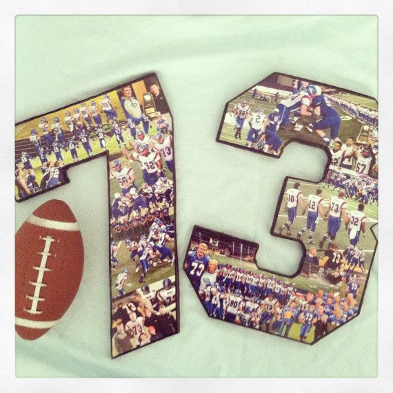 12 inch colorful 2 DIGIT number collage! Customize for your favorite athlete. Football mom, soccer mom, senior night, coach gift. Graduation