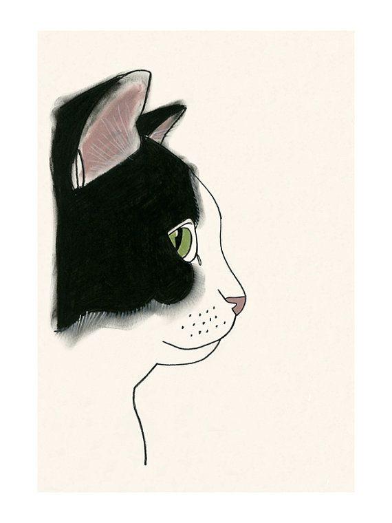 "Cat art print black and White cat print - 4"" X 6"" kitty print - 4 for 3"