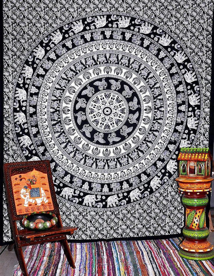 Croix Motif éléphants indiens Hippie Décoration murale Bohemian Couvre-lit en coton Motif Mandala dortoir Couverture de plage: Amazon.fr: Cuisine & Maison