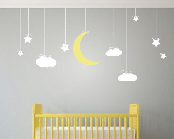 Childrens Wall Art   Nursery Decor   Wall Stickers Nursery   Kids Wall Decal    Clouds And Stars Wall Decal