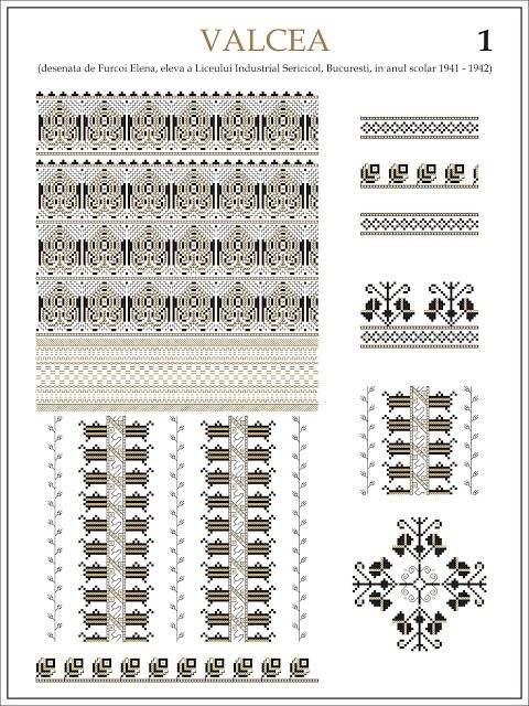 Semne Cusute: ie din VALCEA (1)  Modele de ii Romanesti din caietul elevei Furcoi Elena, de la Liceul Industrial Sericicol Bucuresti, care a desenat aceste planse in clasa a VIII-a, anul scolar 1941 - 1942