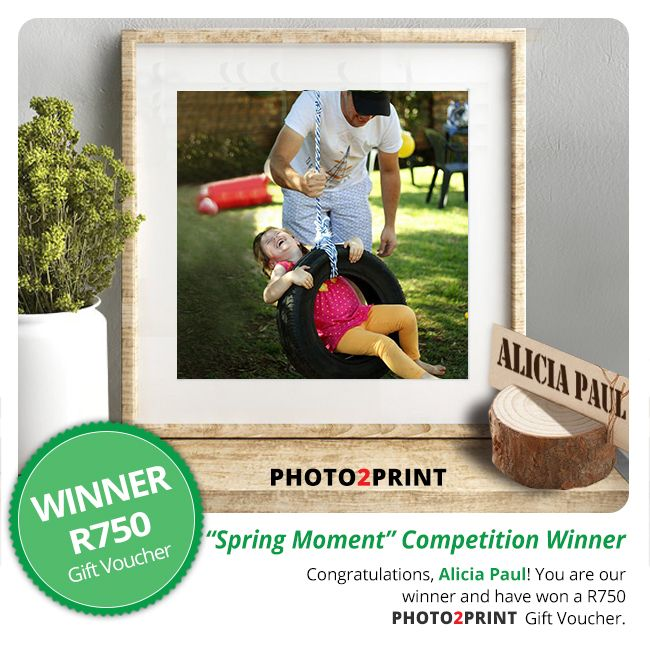 """Congratulations to the winner of our """"My Spring Moment"""" Photo Competition: Alicia Paul! You have won a R750 Photo2Print Gift Voucher. Look out for our next competition."""