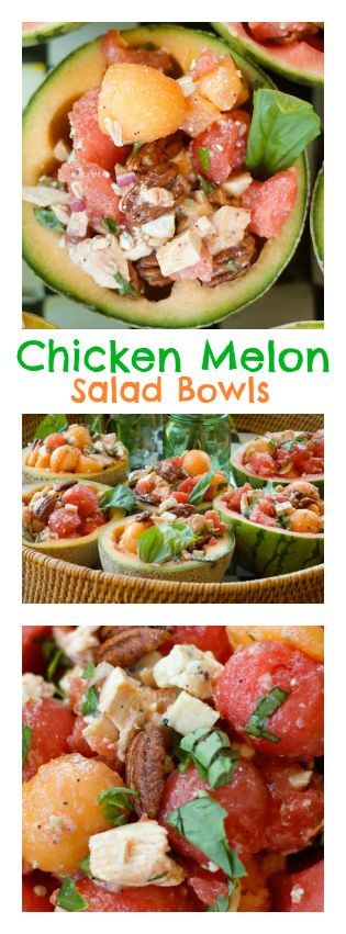 For Easter, Mother's Day, luncheon, springtime entertaining - Chicken Melon Salad Bowls at ReluctantEntertainer.com
