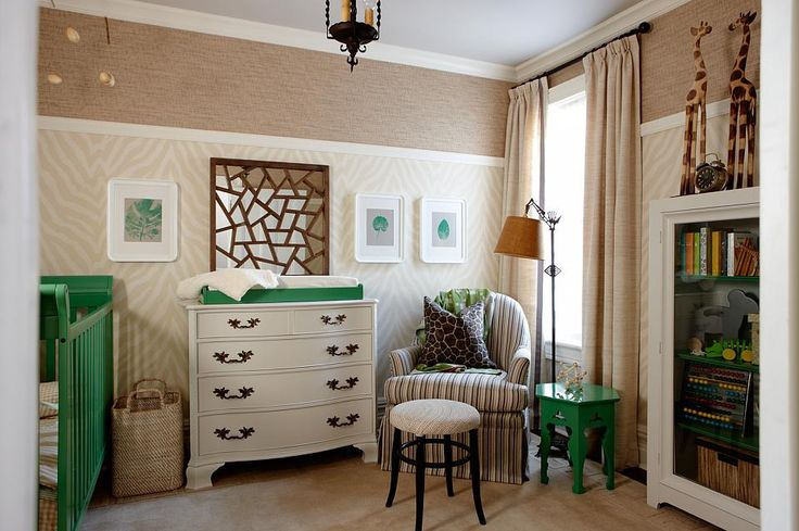 Nursery by Sarah Richardson  - It's been a long time since this episode, but I still love the high chair rail, neutral zebra print, grasscloth, and unexpected gorgeous green.