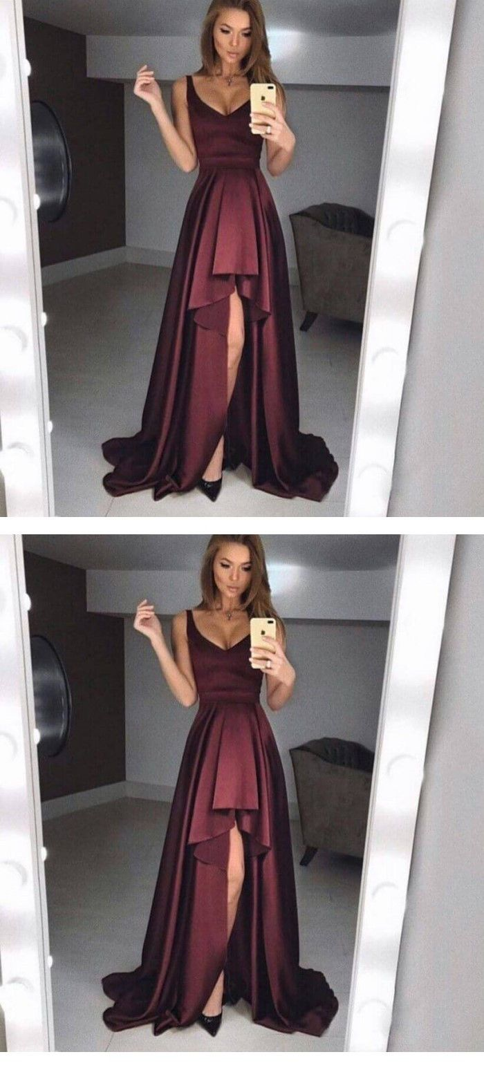 elegant formal party dresses, simple burgundy evening prom gowns, fashion dresses.