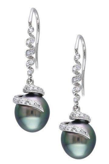 14K White Gold 9-9.5mm Black Tahitian Pearl & Diamond Swirl Drop Earrings by Luxurious Luster: Tahitian Pearls on @HauteLook