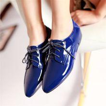 2016 primavera nuevos zapatos ocasionales dentro de charol para mujer zapatos de punta plana zapatos de gran tamaño zapatos crecientes envío gratis(China (Mainland))