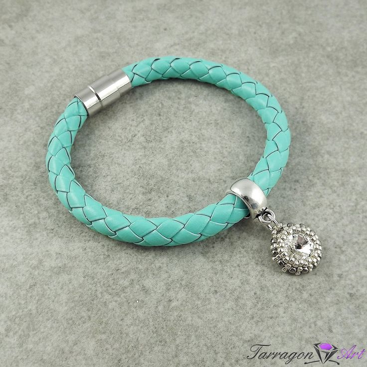 #handmade #beading #swarovski Bransoletka Magnetic Leather - Turquoise with Crystal by Tarragon Art