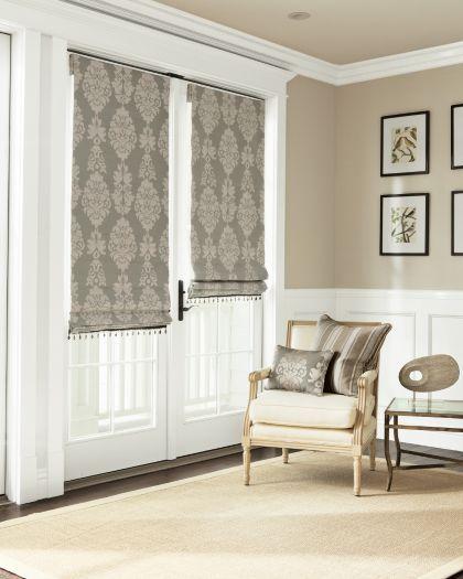 Flat Roman Fabric Shades Mounted To Door