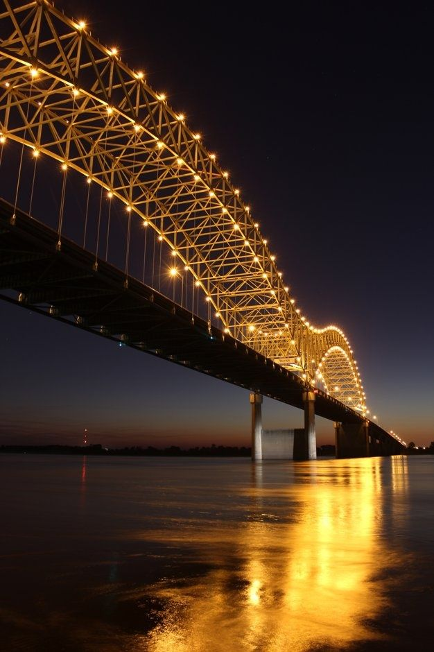 Memphis Bridge Pretty All Lit Up At Night And Reflecting Off The Mississippi River Same View